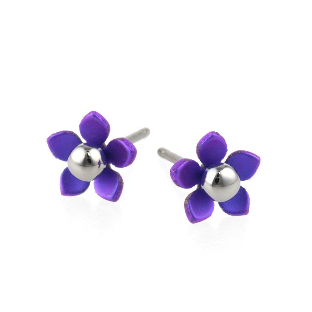 Purple Flower Pierced Earrings