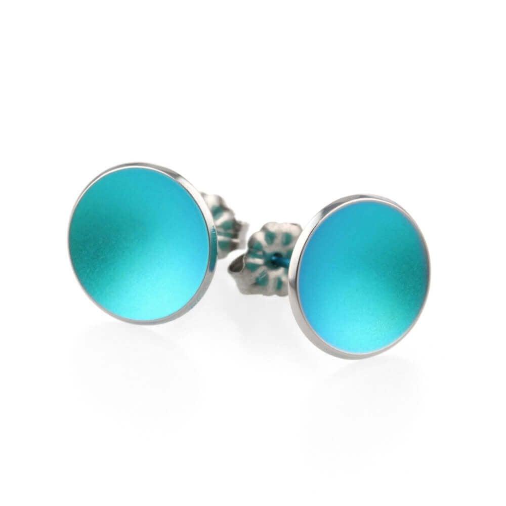 Ti2 Titanium Womens Tiny Dome Stud Earrings Fresh Green